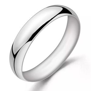 14k white gold filled silver wedding band ring